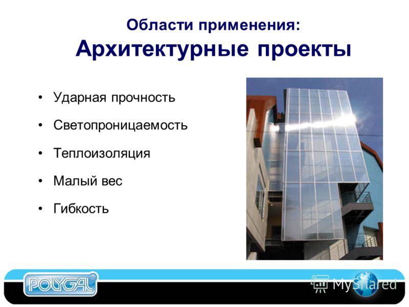 Области применения: Архитектурные проекты Ударная прочность Светопроницаемость Теплоизоляция Малый вес Гибкость