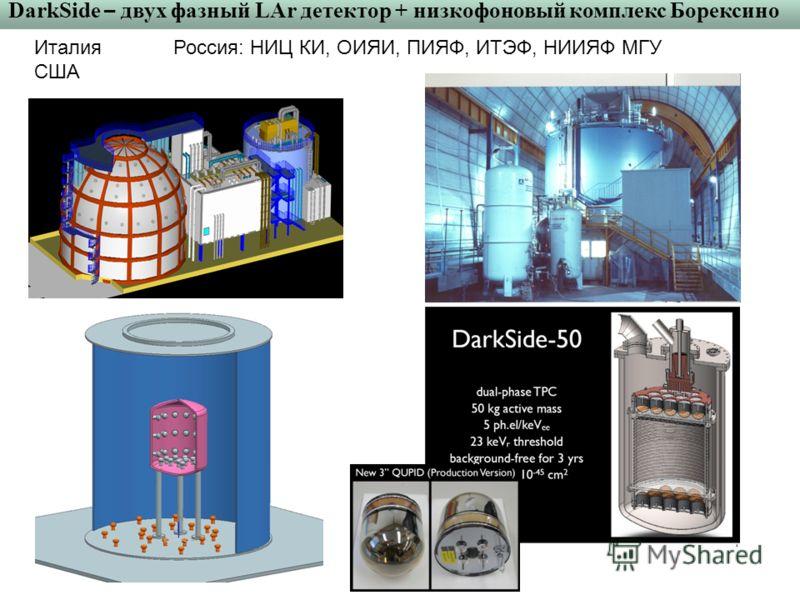 DarkSide – двух фазный LAr детектор + низкофоновый комплекс Борексино Италия США Россия: НИЦ КИ, ОИЯИ, ПИЯФ, ИТЭФ, НИИЯФ МГУ