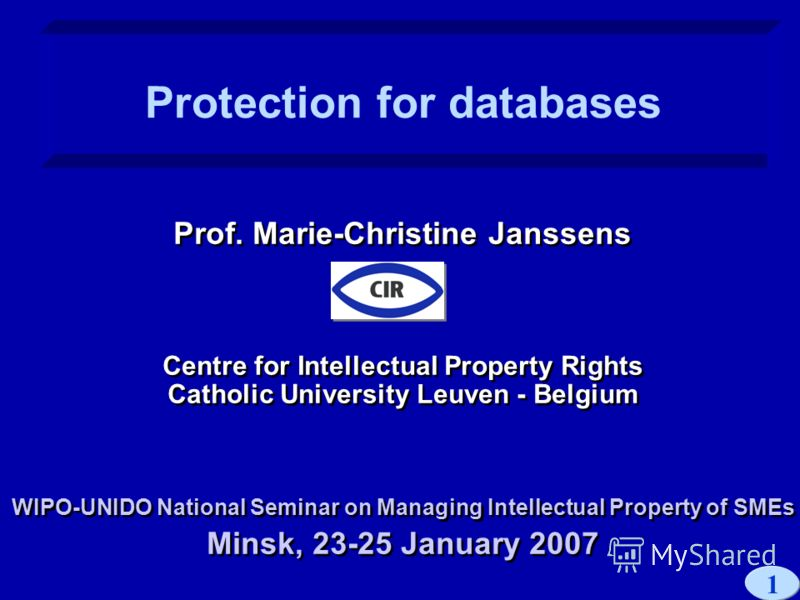 1 Prof. Marie-Christine Janssens Centre for Intellectual Property Rights Catholic University Leuven - Belgium WIPO-UNIDO National Seminar on Managing Intellectual Property of SMEs Minsk, 23-25 January 2007 Prof. Marie-Christine Janssens Centre for In