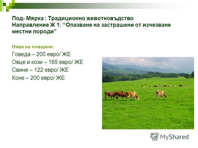 Под- Мярка : Традиционно животновъдство Направление Ж 1: Опазване на застрашени от изчезване местни породи Нива на плащане: Говеда – 200 евро/ ЖЕ Овце и кози – 165 евро/ ЖЕ Свине – 122 евро/ ЖЕ Коне – 200 евро/ ЖЕ