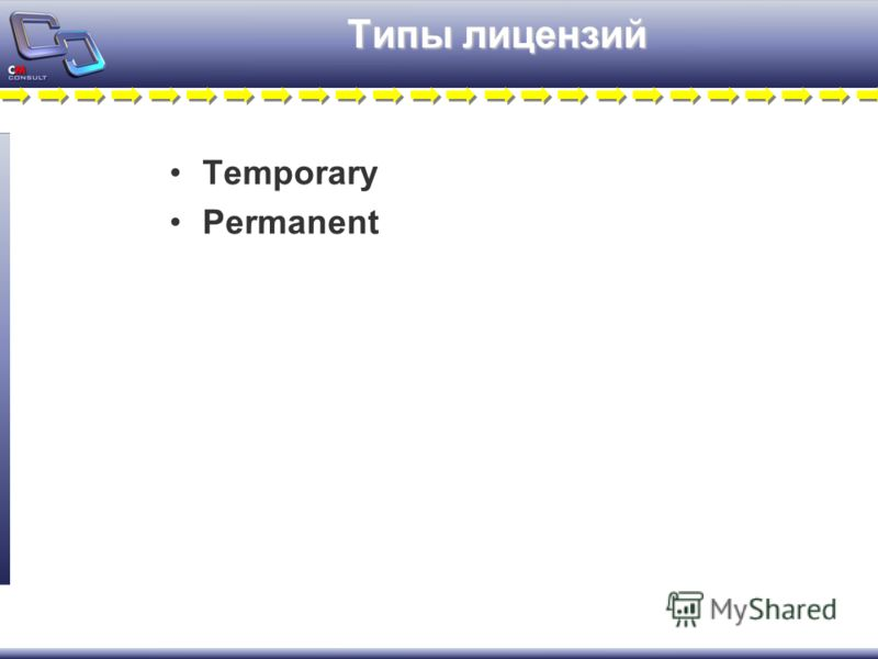 Типы лицензий Temporary Permanent