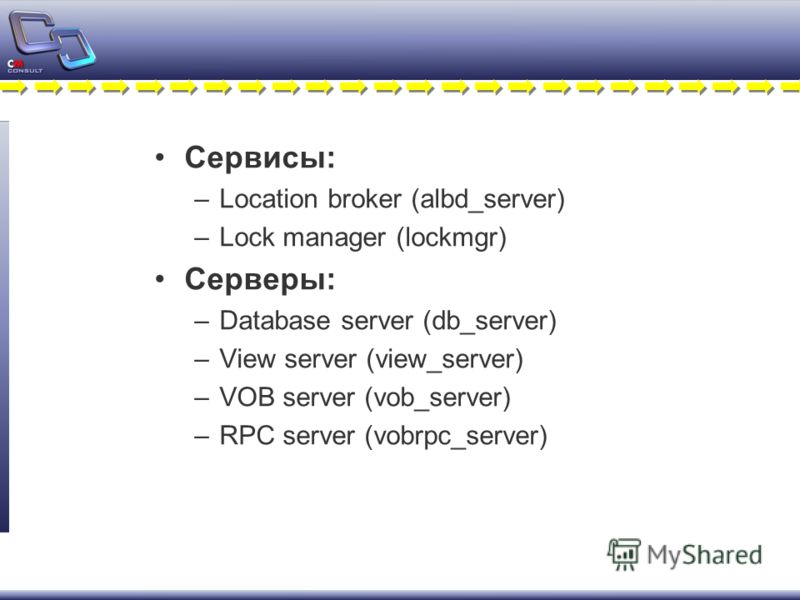 Сервисы: –Location broker (albd_server) –Lock manager (lockmgr) Серверы: –Database server (db_server) –View server (view_server) –VOB server (vob_server) –RPC server (vobrpc_server)