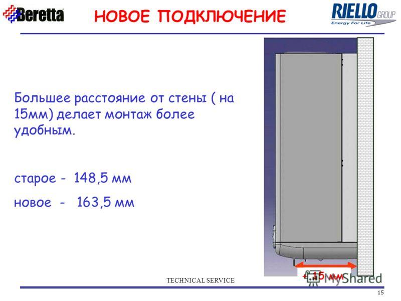 15 TECHNICAL SERVICE НОВОЕ ПОДКЛЮЧЕНИЕ Большее расстояние от стены ( на 15мм) делает монтаж более удобным. старое - 148,5 мм новое - 163,5 мм + 15 мм