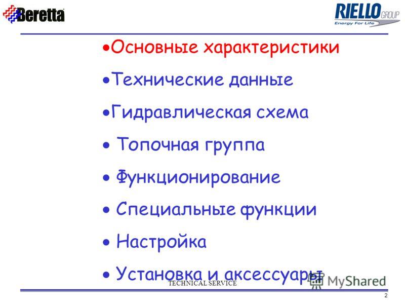 2 TECHNICAL SERVICE Основные характеристики Технические данные Гидравлическая схема Топочная группа Функционирование Специальные функции Настройка Установка и аксессуары