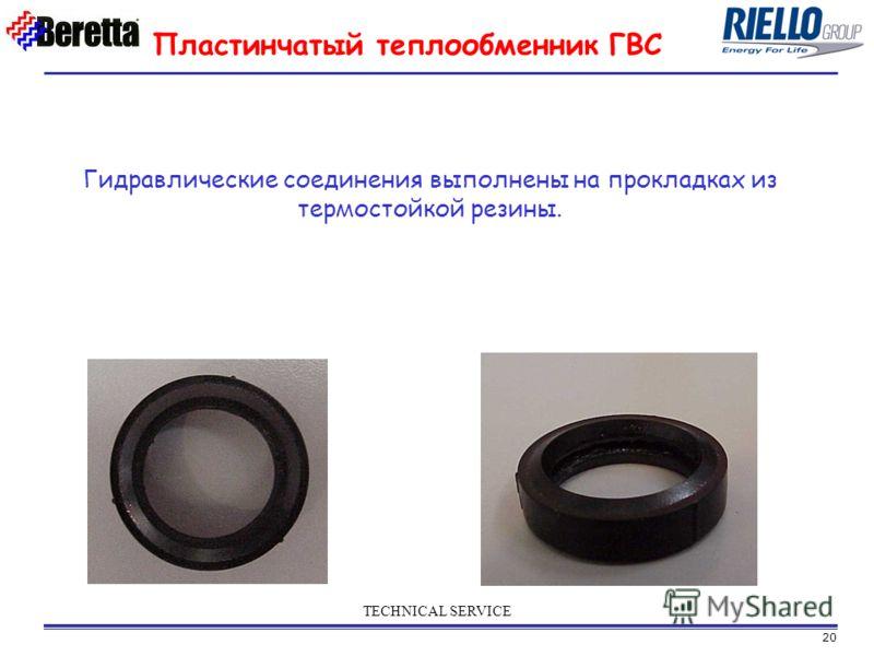 20 TECHNICAL SERVICE Гидравлические соединения выполнены на прокладках из термостойкой резины. Пластинчатый теплообменник ГВС