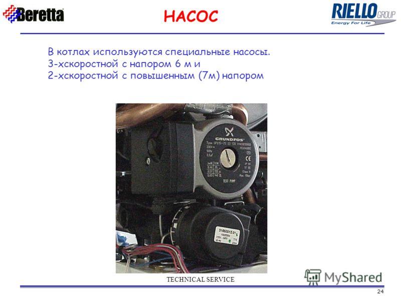 24 TECHNICAL SERVICE В котлах используются специальные насосы. 3-хскоростной с напором 6 м и 2-хскоростной с повышенным (7м) напором НАСОС
