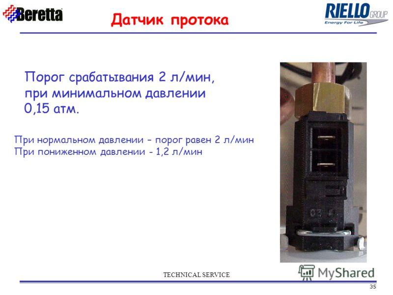 35 TECHNICAL SERVICE При нормальном давлении – порог равен 2 л/мин При пониженном давлении - 1,2 л/мин Датчик протока Порог срабатывания 2 л/мин, при минимальном давлении 0,15 атм.
