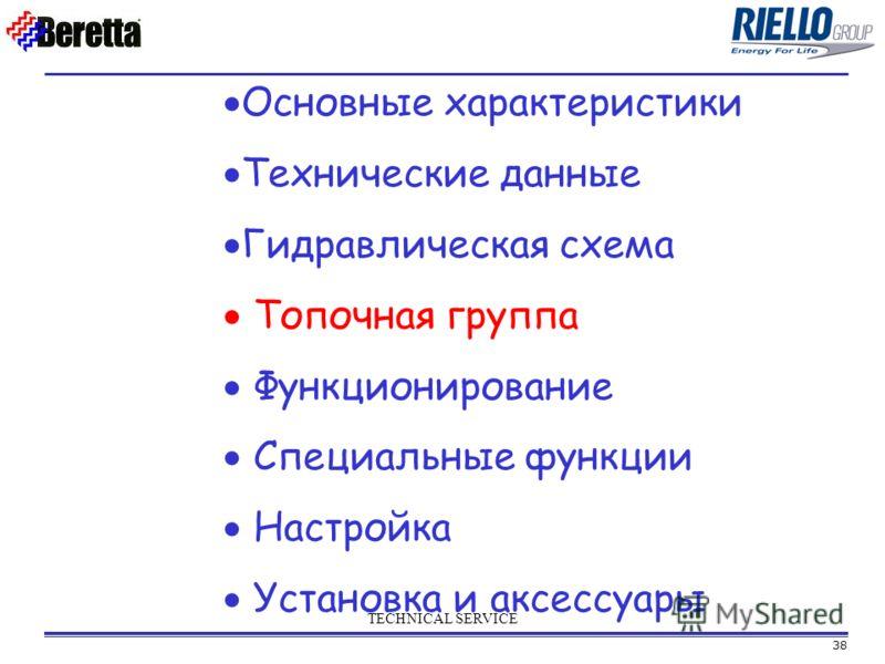 38 TECHNICAL SERVICE Основные характеристики Технические данные Гидравлическая схема Топочная группа Функционирование Специальные функции Настройка Установка и аксессуары