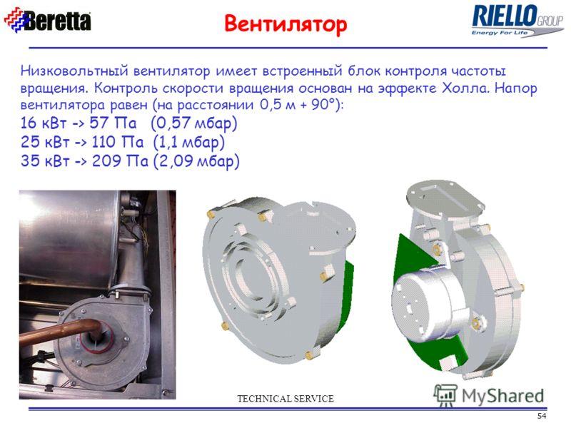 54 TECHNICAL SERVICE Вентилятор Низковольтный вентилятор имеет встроенный блок контроля частоты вращения. Контроль скорости вращения основан на эффекте Холла. Напор вентилятора равен (на расстоянии 0,5 м + 90°): 16 кВт -> 57 Па (0,57 мбар) 25 кВт ->