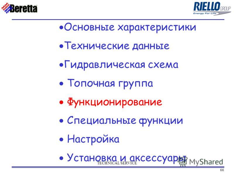 66 TECHNICAL SERVICE Основные характеристики Технические данные Гидравлическая схема Топочная группа Функционирование Специальные функции Настройка Установка и аксессуары