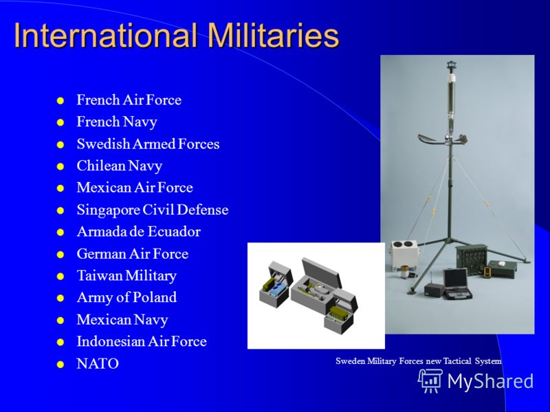 International Militaries l French Air Force l French Navy l Swedish Armed Forces l Chilean Navy l Mexican Air Force l Singapore Civil Defense l Armada de Ecuador l German Air Force l Taiwan Military l Army of Poland l Mexican Navy l Indonesian Air Fo