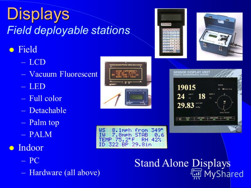 Displays Displays Field deployable stations l Field –LCD –Vacuum Fluorescent –LED –Full color –Detachable –Palm top –PALM l Indoor –PC –Hardware (all above) Stand Alone Displays