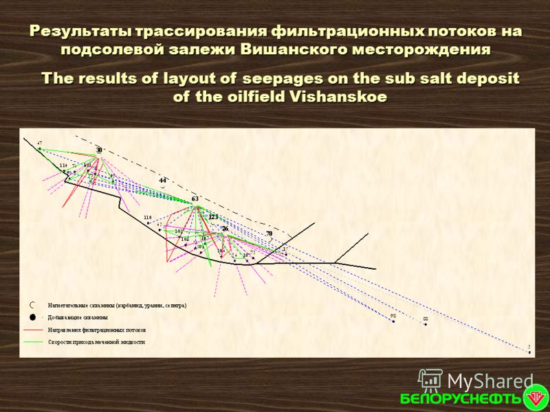 The results of layout of seepages on the sub salt deposit of the oilfield Vishanskoe Результаты трассирования фильтрационных потоков на подсолевой залежи Вишанского месторождения