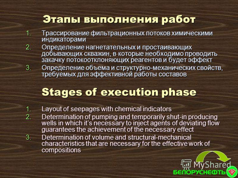 1.Трассирование фильтрационных потоков химическими индикаторами 2.Определение нагнетательных и простаивающих добывающих скважин, в которые необходимо проводить закачку потокоотклоняющих реагентов и будет эффект 3.Определение объема и структурно-механ