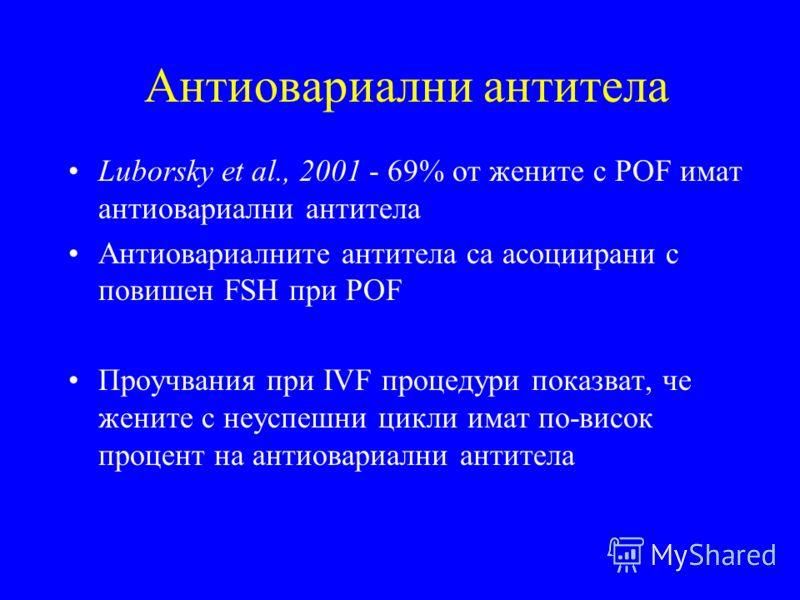 Антиовариални антитела Luborsky et al., 2001 - 69% от жените с POF имат антиовариални антитела Антиовариалните антитела са асоциирани с повишен FSH при POF Проучвания при IVF процедури показват, че жените с неуспешни цикли имат по-висок процент на ан