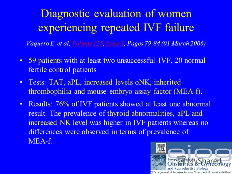 Diagnostic evaluation of women experiencing repeated IVF failure Vaquero E. et al, Volume 125, Issue 1, Pages 79-84 (01 March 2006)Volume 125Issue 1 59 patients with at least two unsuccessful IVF, 20 normal fertile control patients Tests: TAT, aPL, i