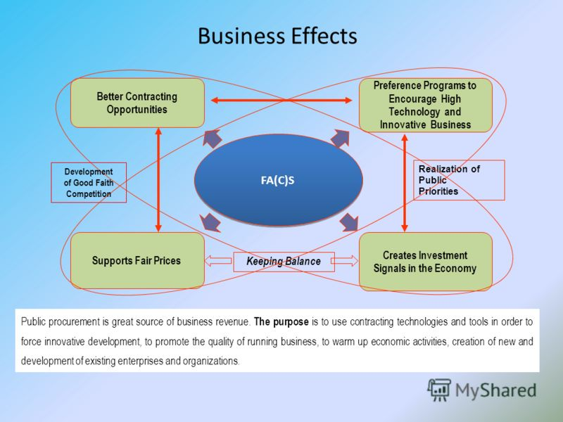 Business Effects Supports Fair Prices Preference Programs to Encourage High Technology and Innovative Business Better Contracting Opportunities FA(C)S Creates Investment Signals in the Economy Realization of Public Priorities Keeping Balance Public p