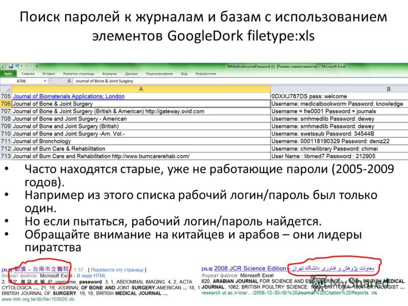 Поиск паролей к журналам и базам с использованием элементов GoogleDork filetype:xls Часто находятся старые, уже не работающие пароли (2005-2009 годов). Например из этого списка рабочий логин/пароль был только один. Но если пытаться, рабочий логин/пар