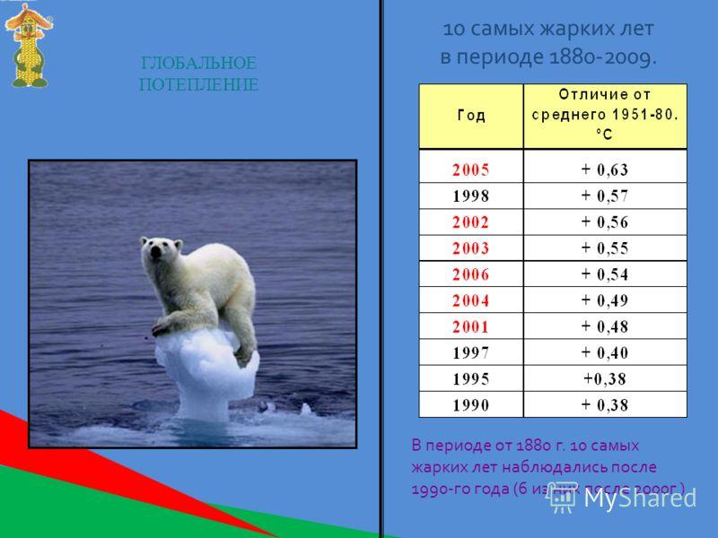 ГЛОБАЛЬНОЕ ПОТЕПЛЕНИЕ 10 самых жарких лет в периоде 1880-2009. В периоде от 1880 г. 10 самых жарких лет наблюдались после 1990-го года (6 из них после 2000г.)