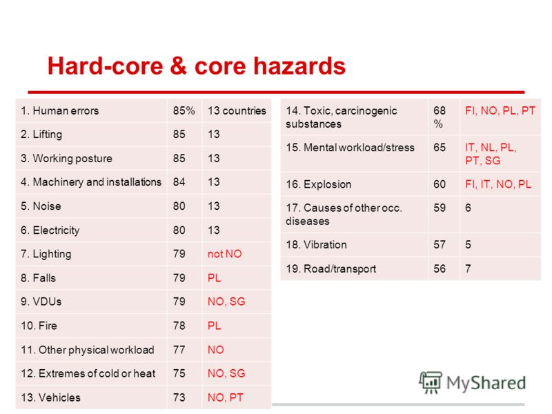 Hard-core & core hazards 1. Human errors85%13 countries 2. Lifting8513 3. Working posture8513 4. Machinery and installations8413 5. Noise8013 6. Electricity8013 7. Lighting79not NO 8. Falls79PL 9. VDUs79NO, SG 10. Fire78PL 11. Other physical workload