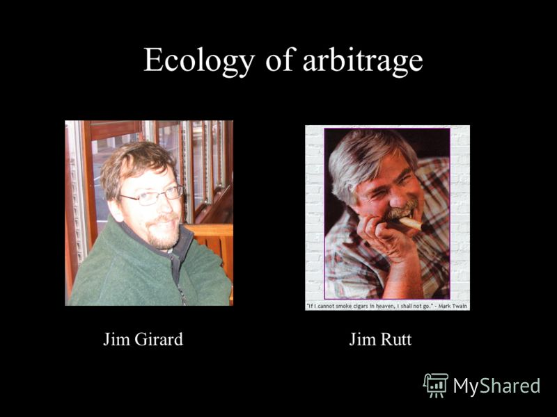Ecology of arbitrage Jim GirardJim Rutt
