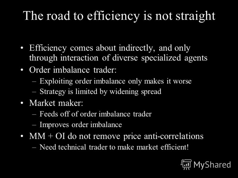 The road to efficiency is not straight Efficiency comes about indirectly, and only through interaction of diverse specialized agents Order imbalance trader: –Exploiting order imbalance only makes it worse –Strategy is limited by widening spread Marke