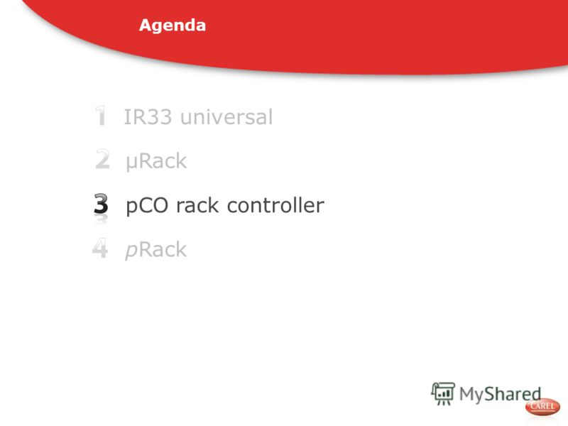 IR33 universal pCO rack controller pRack μRack Agenda