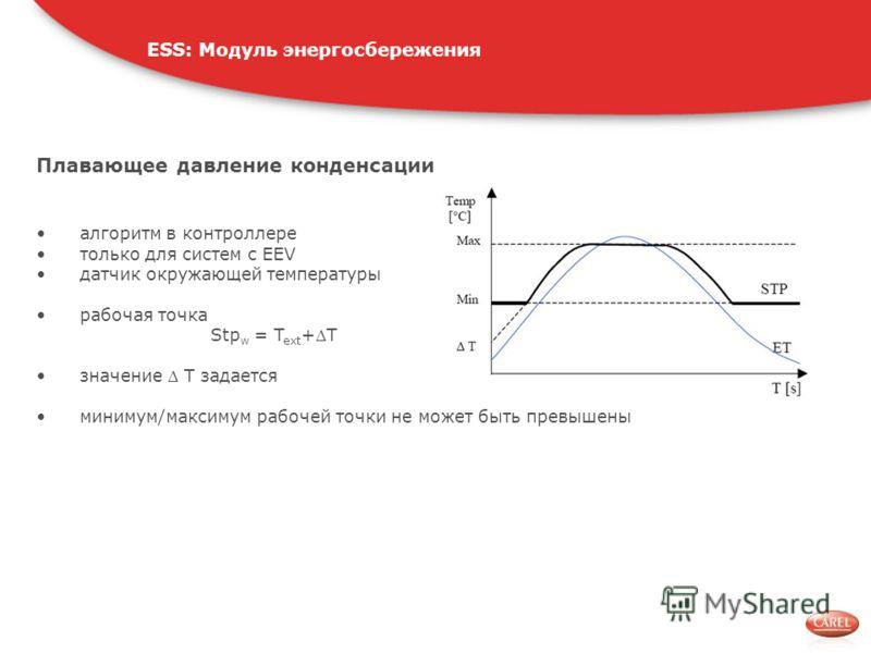 Плавающее давление конденсации алгоритм в контроллере только для систем с EEV датчик окружающей температуры рабочая точка Stp w = T ext +T значение T задается минимум/максимум рабочей точки не может быть превышены ESS: Модуль энергосбережения