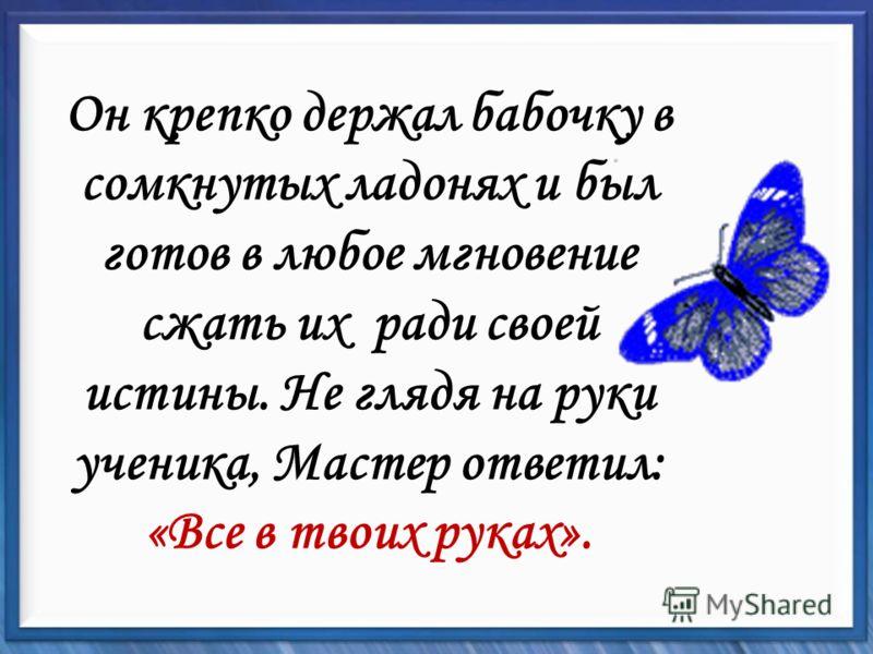 Он крепко держал бабочку в сомкнутых ладонях и был готов в любое мгновение сжать их ради своей истины. Не глядя на руки ученика, Мастер ответил: «Все в твоих руках».