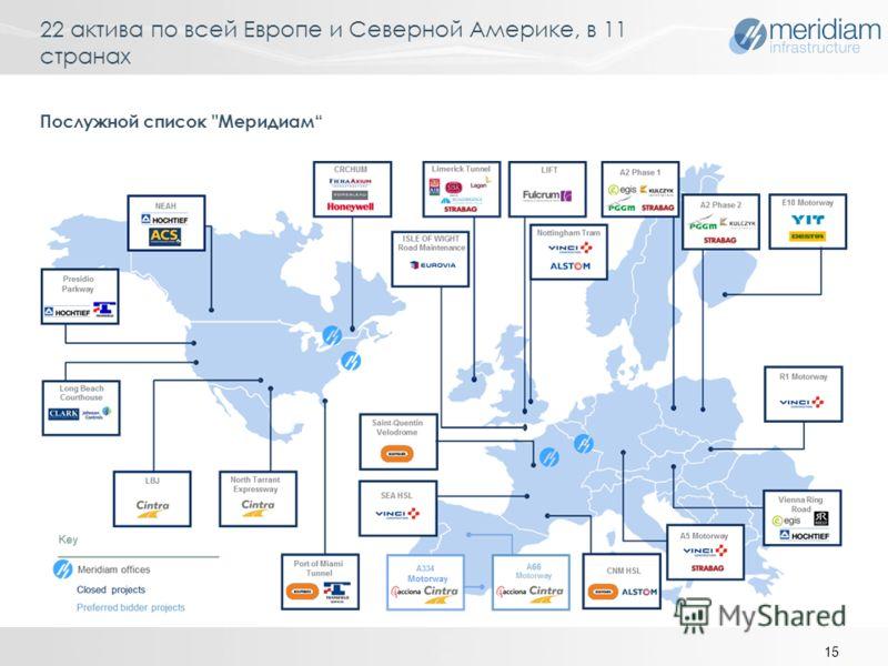 22 актива по всей Европе и Северной Америке, в 11 странах 15 Послужной список Меридиам