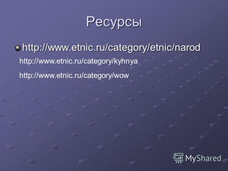 Ресурсы http://www.etnic.ru/category/etnic/narod http://www.etnic.ru/category/kyhnya http://www.etnic.ru/category/wow