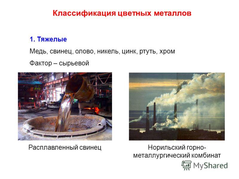 Классификация цветных металлов 1. Тяжелые Медь, свинец, олово, никель, цинк, ртуть, хром Фактор – сырьевой Норильский горно- металлургический комбинат Расплавленный свинец