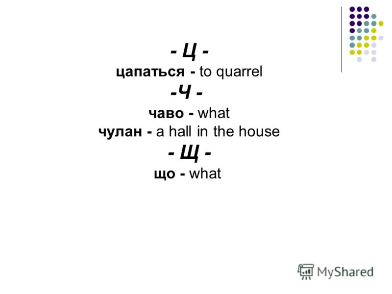 - Ц - цапаться - to quarrel -Ч - чаво - what чулан - a hall in the house - Щ - що - what