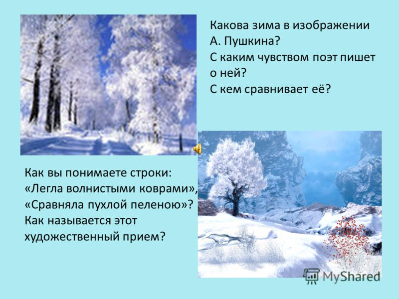 Какова зима в изображении А. Пушкина? С каким чувством поэт пишет о ней? С кем сравнивает её? Как вы понимаете строки: «Легла волнистыми коврами», «Сравняла пухлой пеленою»? Как называется этот художественный прием?