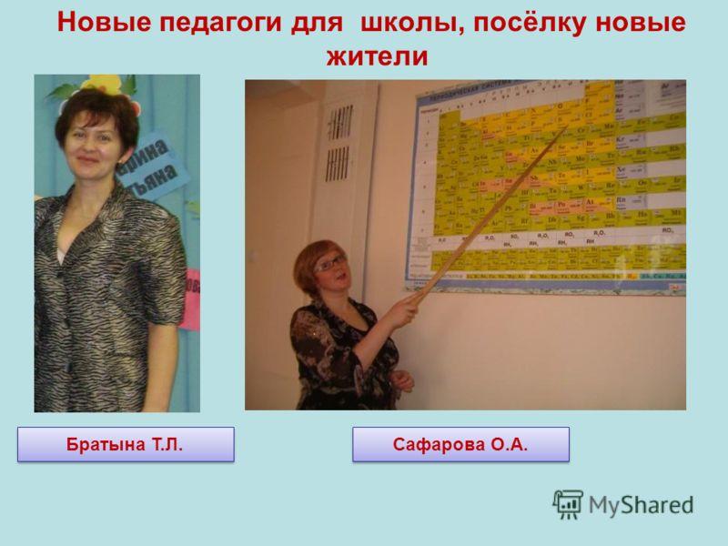 Новые педагоги для школы, посёлку новые жители Братына Т.Л. Сафарова О.А.
