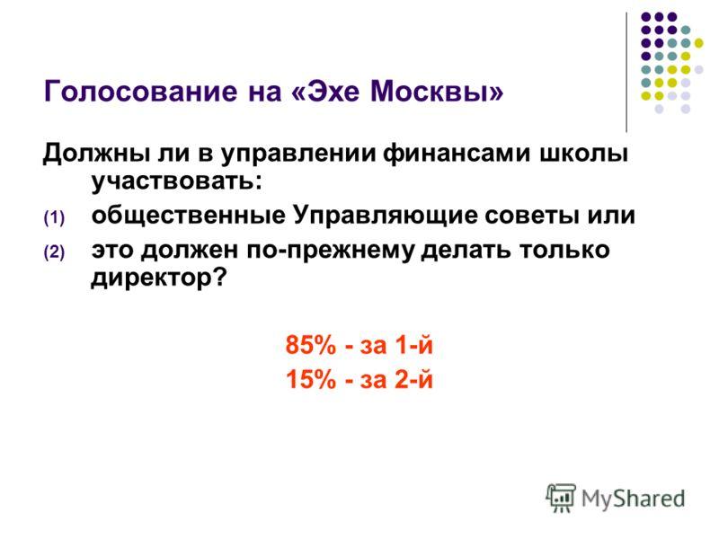 Голосование на «Эхе Москвы» Должны ли в управлении финансами школы участвовать: (1) общественные Управляющие советы или (2) это должен по-прежнему делать только директор? 85% - за 1-й 15% - за 2-й