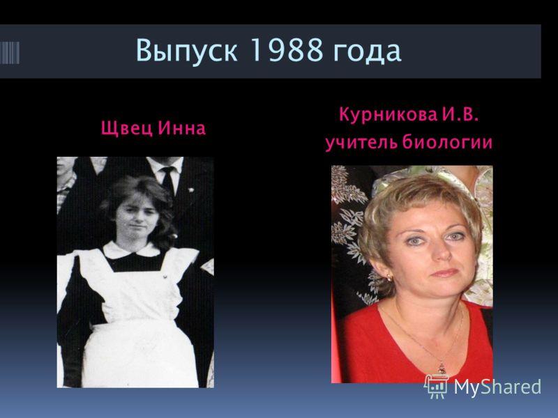 Выпуск 1988 года Щвец Инна Курникова И.В. учитель биологии