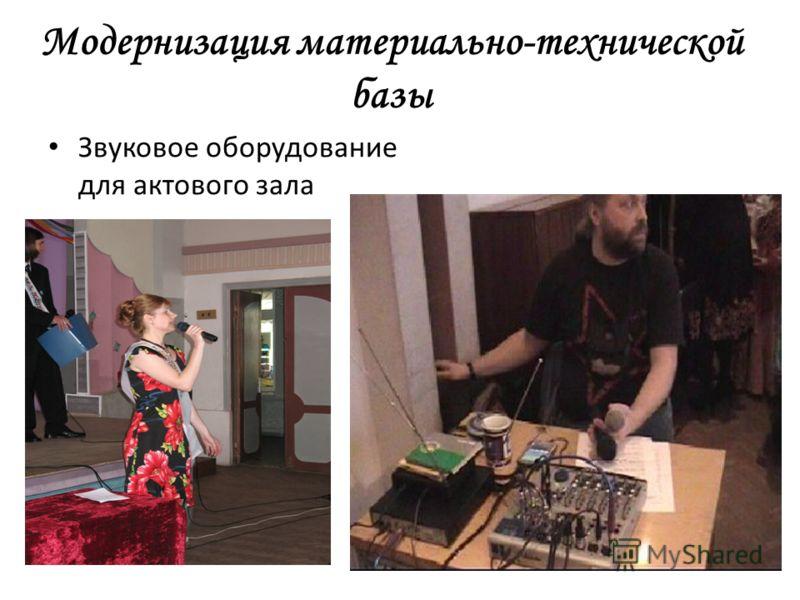 Модернизация материально-технической базы Звуковое оборудование для актового зала