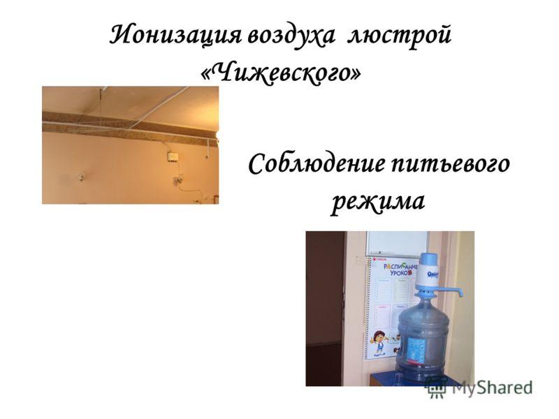 Ионизация воздуха люстрой «Чижевского» Соблюдение питьевого режима