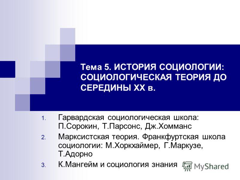 Шпаргалка Чикагская Школа И П. Сорокин