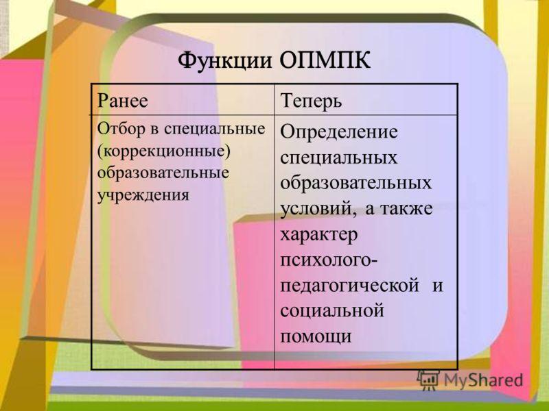 Функции ОПМПК Ранее Отбор в специальные (коррекционные) образовательные учреждения Теперь Определение специальных образовательных условий, а также характер психолого- педагогической и социальной помощи