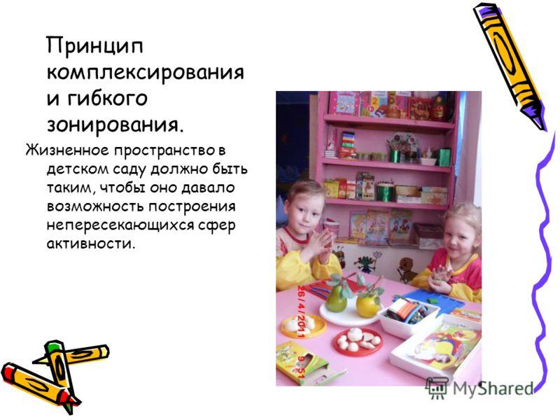Принцип комплексирования и гибкого зонирования. Жизненное пространство в детском саду должно быть таким, чтобы оно давало возможность построения непересекающихся сфер активности.