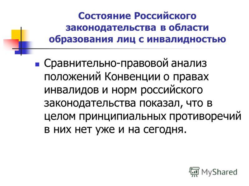 Состояние Российского законодательства в области образования лиц с инвалидностью Сравнительно-правовой анализ положений Конвенции о правах инвалидов и норм российского законодательства показал, что в целом принципиальных противоречий в них нет уже и