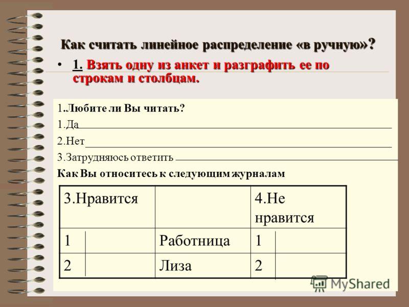Как считать линейное распределение «в ручную »? Взять одну из анкет и разграфить ее по строкам и столбцам.1. Взять одну из анкет и разграфить ее по строкам и столбцам. 1.Любите ли Вы читать? 1.Да 2.Нет 3.Затрудняюсь ответить Как Вы относитесь к следу