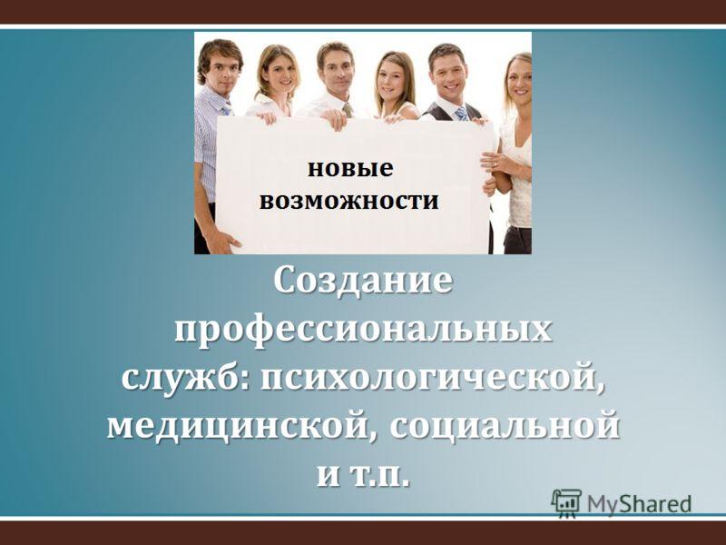 Создание профессиональных служб: психологической, медицинской, социальной и т.п.