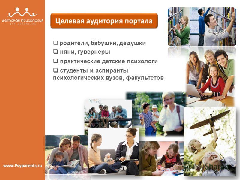 родители, бабушки, дедушки Целевая аудитория портала www.Psyparents.ru няни, гувернеры практические детские психологи студенты и аспиранты психологических вузов, факультетов