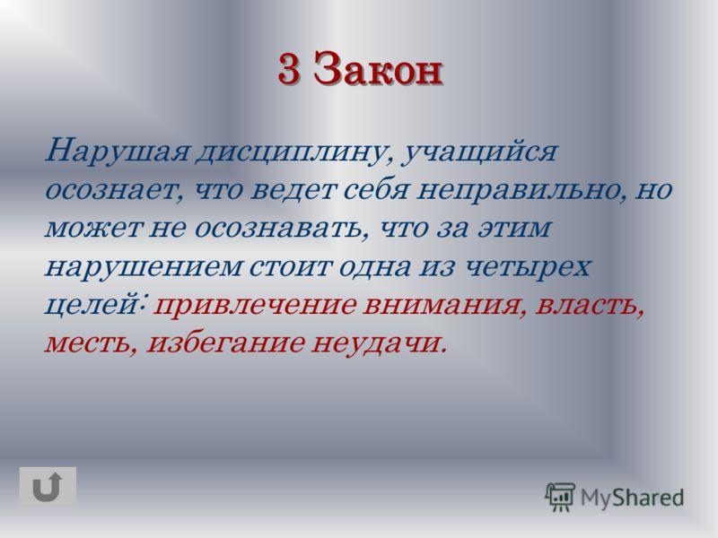 3 Закон Нарушая дисциплину, учащийся осознает, что ведет себя неправильно, но может не осознавать, что за этим нарушением стоит одна из четырех целей: привлечение внимания, власть, месть, избегание неудачи.