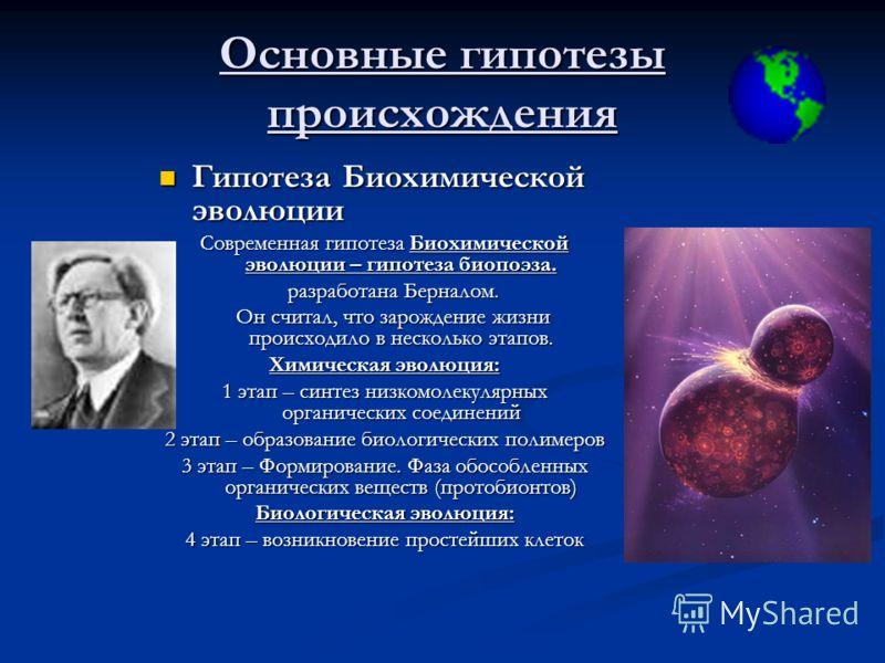 Основные гипотезы происхождения Гипотеза Биохимической эволюции Современная гипотеза Биохимической эволюции – гипотеза биопоэза. разработана Берналом. Он считал, что зарождение жизни происходило в несколько этапов. Химическая эволюция: 1 этап – синте