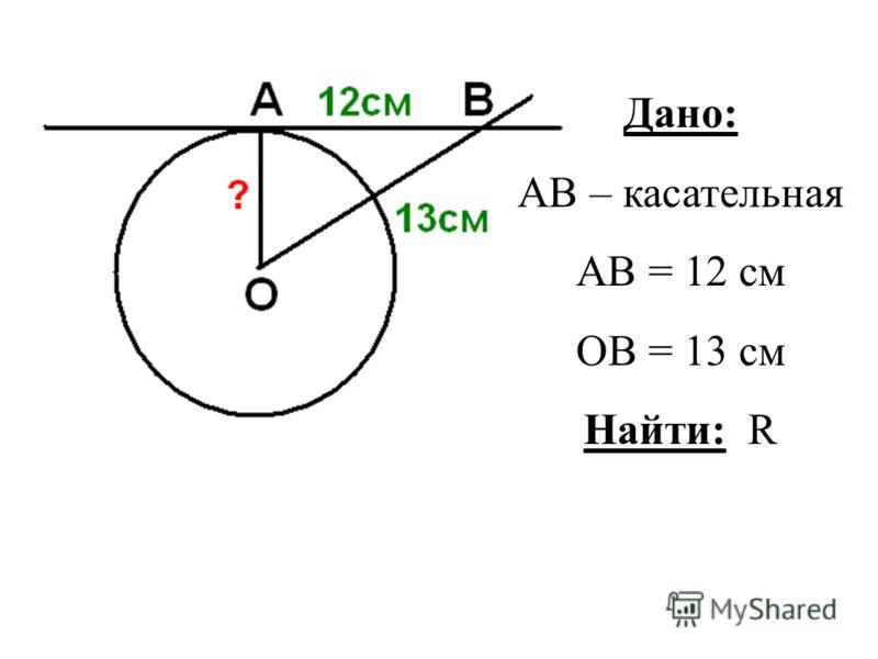 Дано: АВ – касательная АВ = 12 см ОВ = 13 см Найти: R