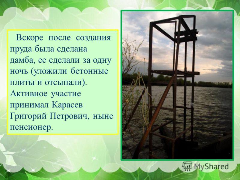 Вскоре после создания пруда была сделана дамба, ее сделали за одну ночь (уложили бетонные плиты и отсыпали). Активное участие принимал Карасев Григорий Петрович, ныне пенсионер.
